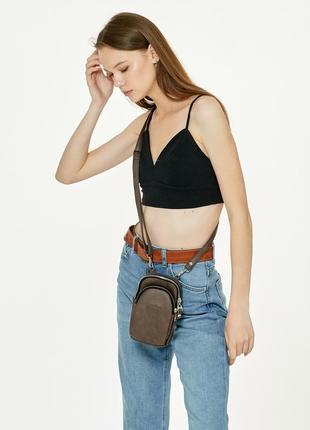 Женская сумка sambag modena sgs светло-коричневый нубук