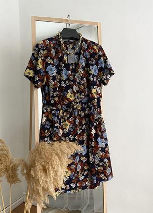 Платье в цветочный принт на запах new look