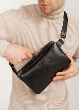 Мужская универсальная сумка нагрудная или поясная.натуральная кожа