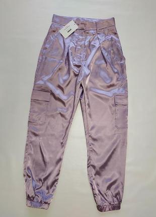 Атласные брюки - карго свободные высокая талия , уличный стиль in thr style (8)