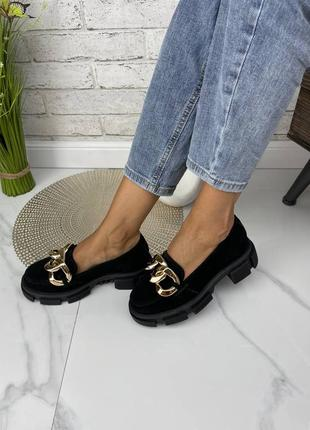 Туфли мокасины лоферы натуральная замша