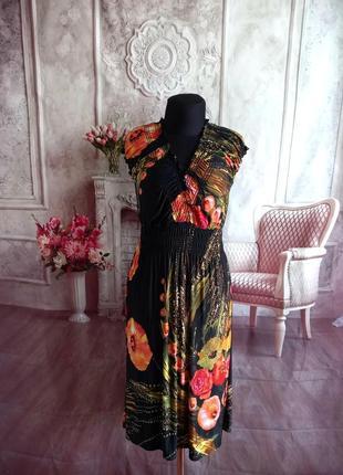 Стильное платье миди трикотаж масло