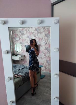 Платье в горошек миние открыта спина7 фото