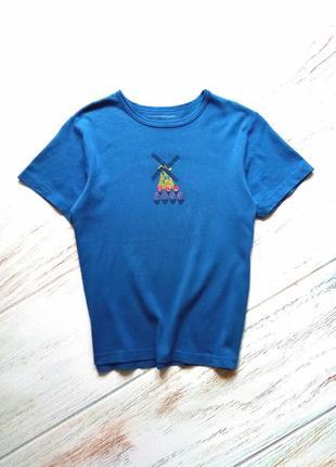 🌌 синяя футболка свободного кроя с оригинальным принтом cruisewear
