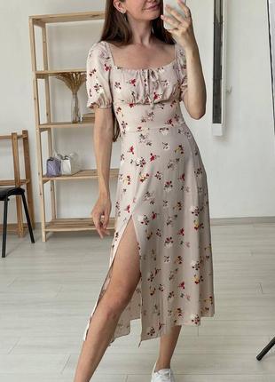 Платье миди из штапеля с разрезом сукня міді з штапелю