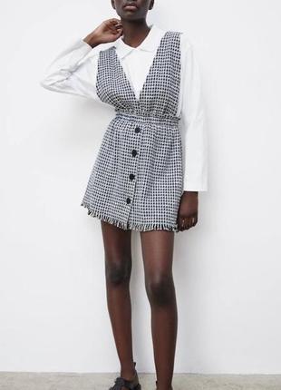 Твидовое платье -сарафан zara