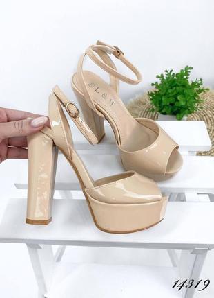 Рр 38,39.бежевые босоножки туфли на высоком каблуке