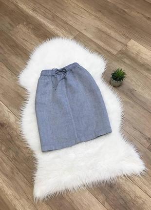 Льняная юбка серая l/48 m&s