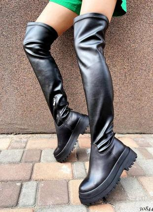 Ботфорты , кожаные ботфорты, утеплённые ботфорты
