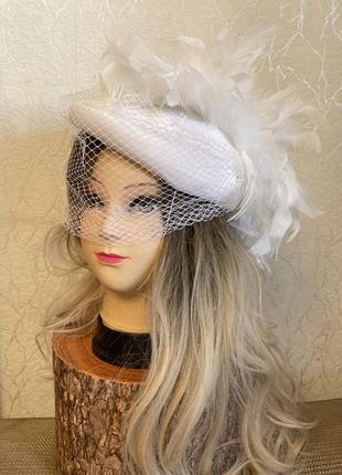 Винтажная свадебная шляпа шляпка вуалетка с сеткой перьями англия