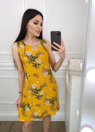 Платье женское летнее легкое короткое мини свободное цветочное желтое