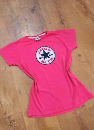 Фирменная однотонная женская футболка converse хлопковая женская футболка малинового цвета малиновая женская футболка из хлопка