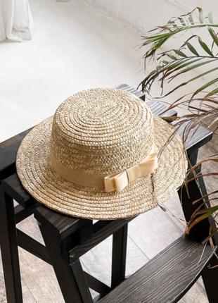 Шляпка канотье соломенная шляпа солом'яний капелюшок канотье