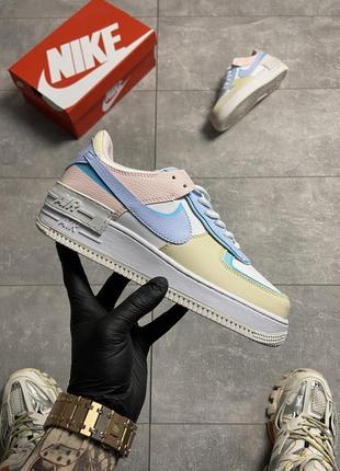 Кроссовки найк женские форсы аир форс кеды обувь nike air force shadow multicolor