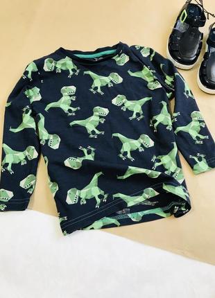 Стильная лёгкая кофточка с динозаврами мальчик 2/3 г