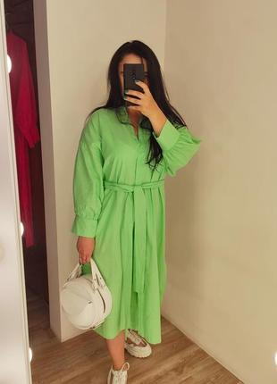 Шикарное хлопковое салатовое платье рубашка с пояском 💚10 фото