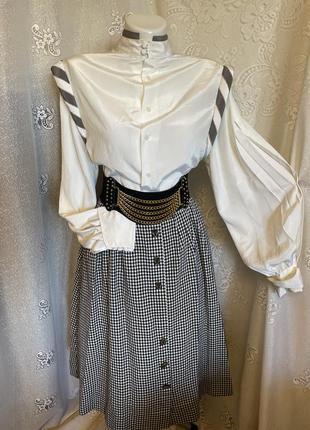 Винтажная белая нарядная необычного фасона блуза рубашка широкие объёмные рукава