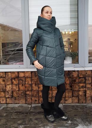 Зимняя женская куртка катрин хаки (пуховик)