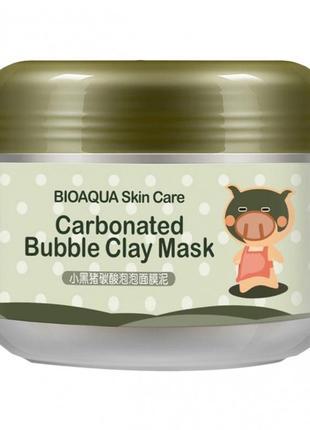 Пузырьковая маска для лица bioaqua carbonated bubble clay mask с каолиновой глиной, 100 г