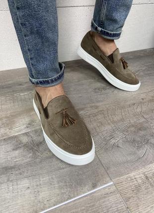 Туфли замша лофери