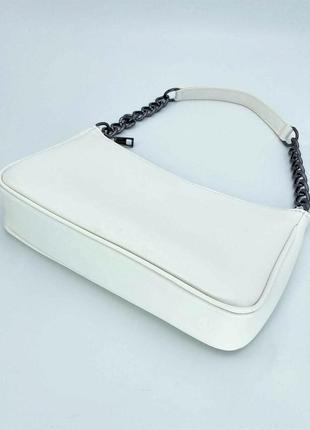 Женская белая сумка багет сумка наплечная белый клатч багет кроссбоди через плечо