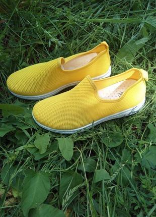 Мокасины женские текстильные яркие желтые