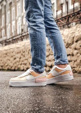 Nike air force shadow white grey brown кроссовки найк женские форсы аир форс кеды обувь взуття3 фото