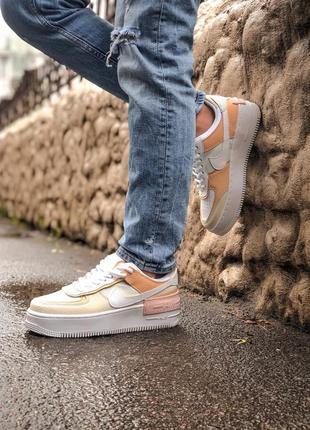Nike air force shadow white grey brown кроссовки найк женские форсы аир форс кеды обувь взуття