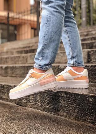 Nike air force shadow white grey brown кроссовки найк женские форсы аир форс кеды обувь взуття2 фото