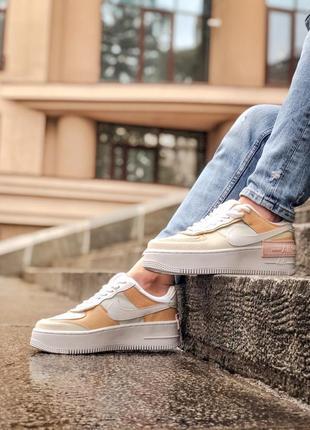 Nike air force shadow white grey brown кроссовки найк женские форсы аир форс кеды обувь взуття7 фото