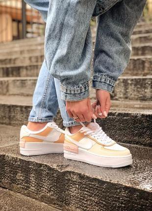 Nike air force shadow white grey brown кроссовки найк женские форсы аир форс кеды обувь взуття8 фото