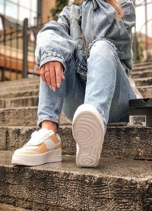 Nike air force shadow white grey brown кроссовки найк женские форсы аир форс кеды обувь взуття5 фото