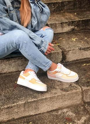 Nike air force shadow white grey brown кроссовки найк женские форсы аир форс кеды обувь взуття9 фото