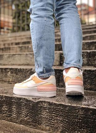 Nike air force shadow white grey brown кроссовки найк женские форсы аир форс кеды обувь взуття4 фото