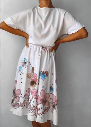 Костюм с юбкой миди летний легкий свободный белый цветочная