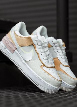 Nike air force shadow white grey brown женские кроссовки найк обувь взуття кеды аир форс2 фото