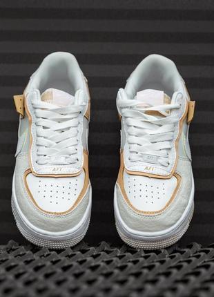 Nike air force shadow white grey brown женские кроссовки найк обувь взуття кеды аир форс3 фото