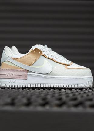 Nike air force shadow white grey brown женские кроссовки найк обувь взуття кеды аир форс1 фото