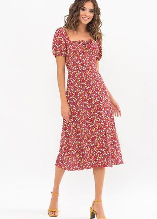 Красное платье в цветочный принт билла, арт. 72325