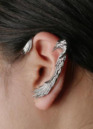 Крутая серьга гвоздик кафф ворон сережки серьги птица рок готика