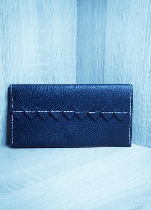 Кожаный синий кошелёк ручной работы