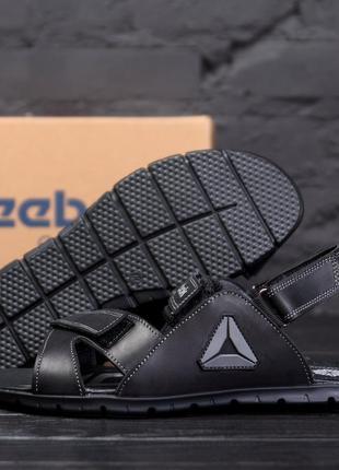 Мужские кожаные сандалии  reebok ns grey