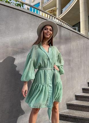 Оливковое свободное платье на пуговицах с объемными рукавами