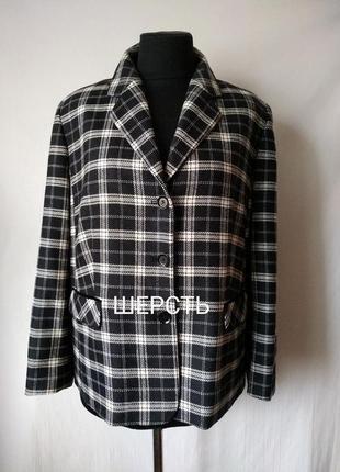 Шерстяной пиджак-жакет в клетку / шерсть woolmark