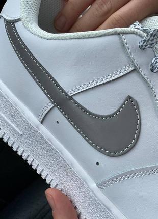 Nike air force 1 low reflective logo кроссовки найк женские аир форс кеды рефлективные3 фото