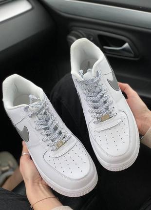 Nike air force 1 low reflective logo кроссовки найк женские аир форс кеды рефлективные4 фото