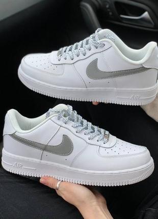 Nike air force 1 low reflective logo кроссовки найк женские аир форс кеды рефлективные