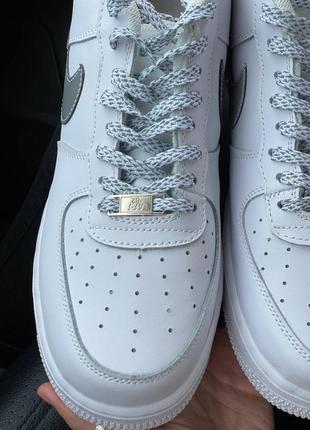Nike air force 1 low reflective logo кроссовки найк женские аир форс кеды рефлективные5 фото