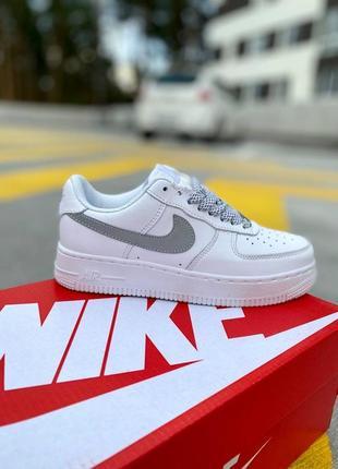 Nike air force 1 low reflective женские кроссовки найк кеды рефлективные