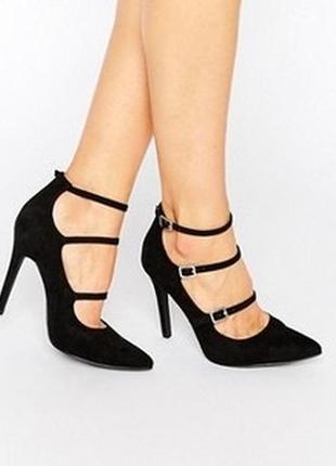 Замшевые туфли с пряжками мэри джейн